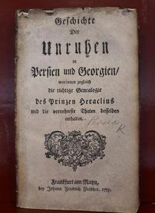 1755 წელს გერმანულად გამოცემული წიგნი ერეკლე მეორეზე